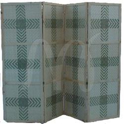 Деревянная ширма из массива сосны с бамбуковым плетением